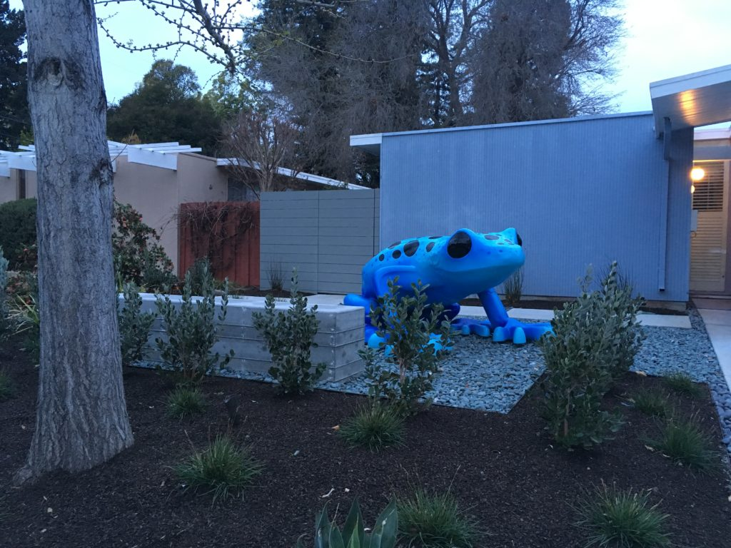 a very large blue toad sculpture sits in the front yard of a house