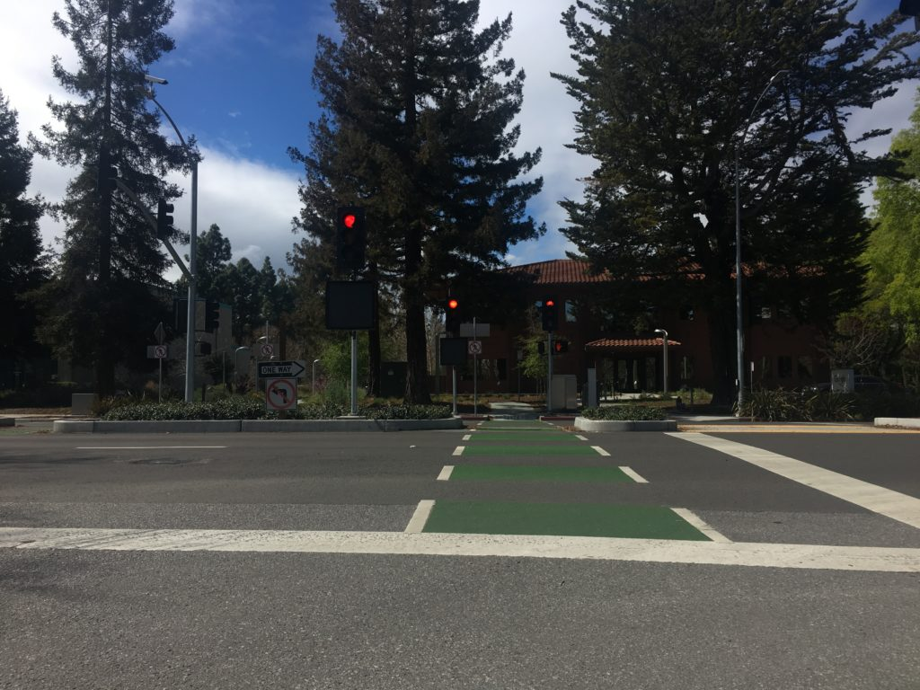 bike and pedestrian crossing across a major road