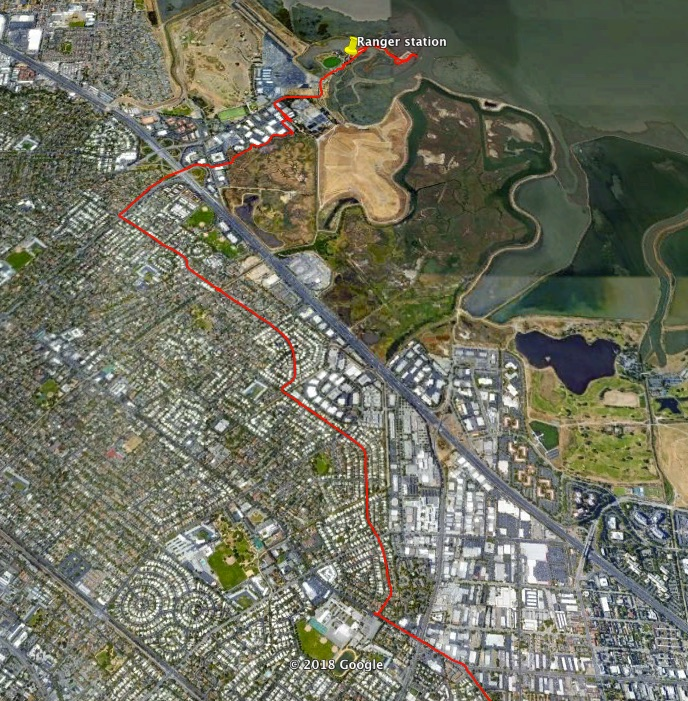 an aerial view of the area through which I rode my bike, showing housing, office buildings, marshland and SF Bay