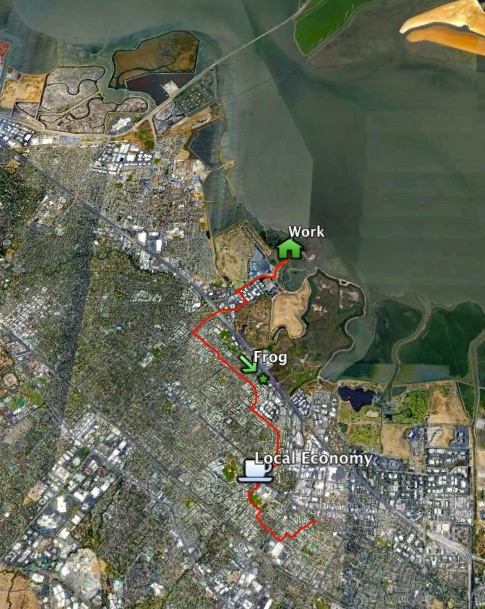 a aerial map showing a bike commuter's route home from a workplace near San Francisco Bay