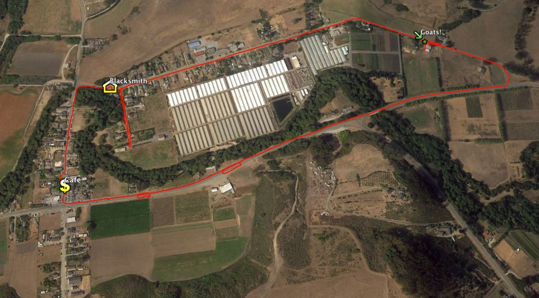 satellite view of Pescadero with a red line indicating the bike route ridden
