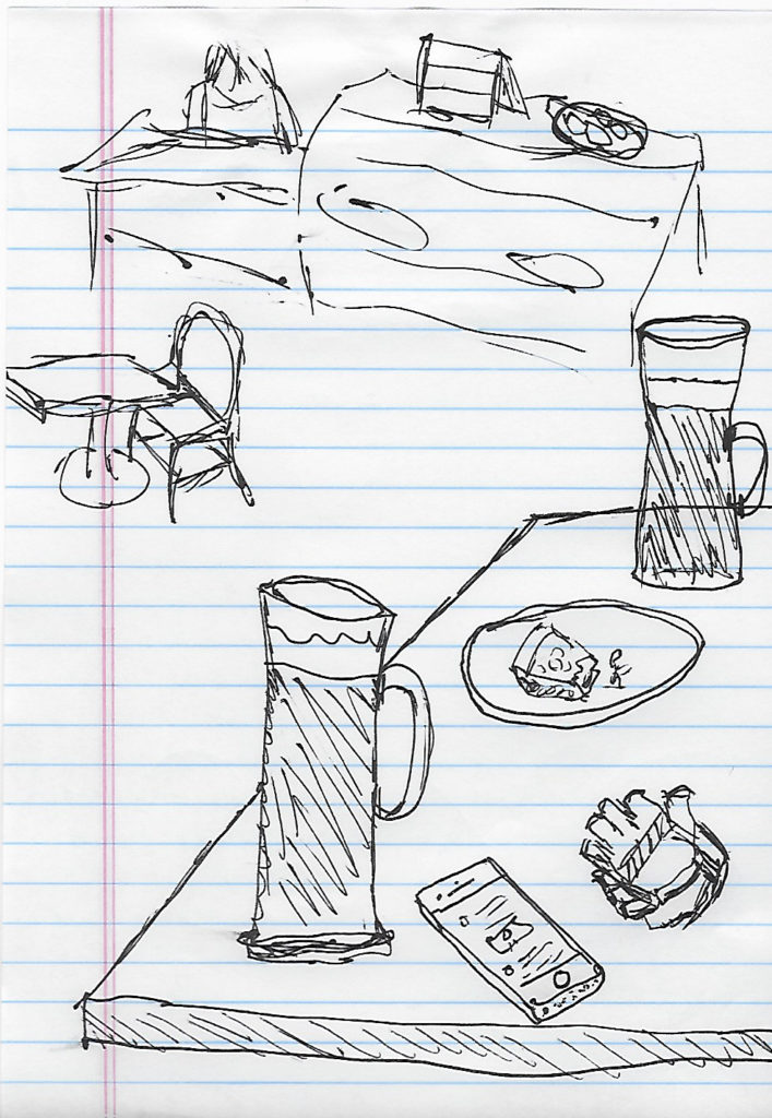 a drawing in pen of two lattes in glass cups, a plate of half-eaten apple pie, a pair of cycling gloves, and and iPhone set in a cafe with other tables and chairs and a counter for ordering
