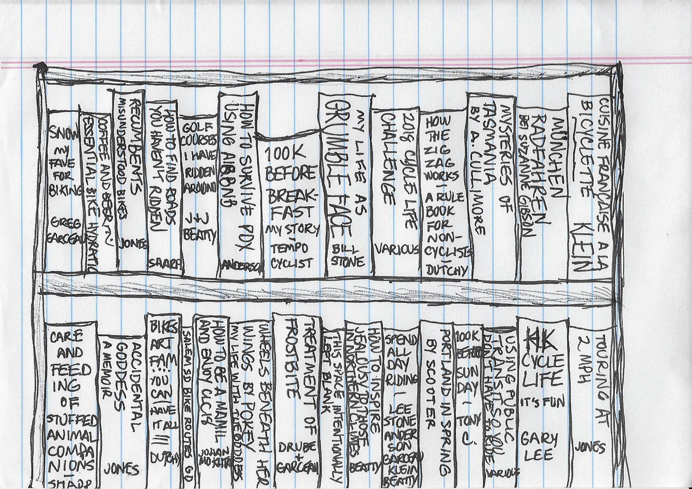 a drawing of books on a library bookshelf with made-up titles that are by people who participated in CLC18