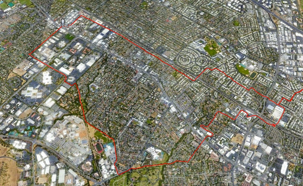 satellite view of suburban Palo Alto with red line indicating bike route taken