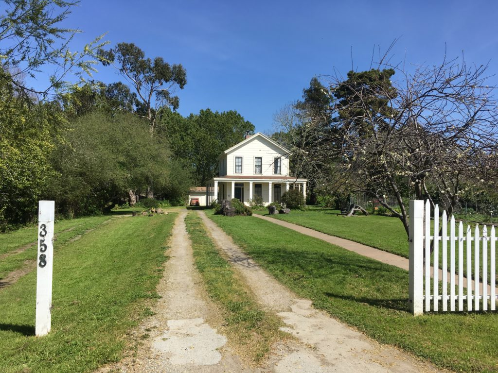 a white farmhouse with a long driveway and a white picket fence near the street.