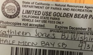a small piece of paper entitled Limited Use Golden Bear Pass from California State Parks