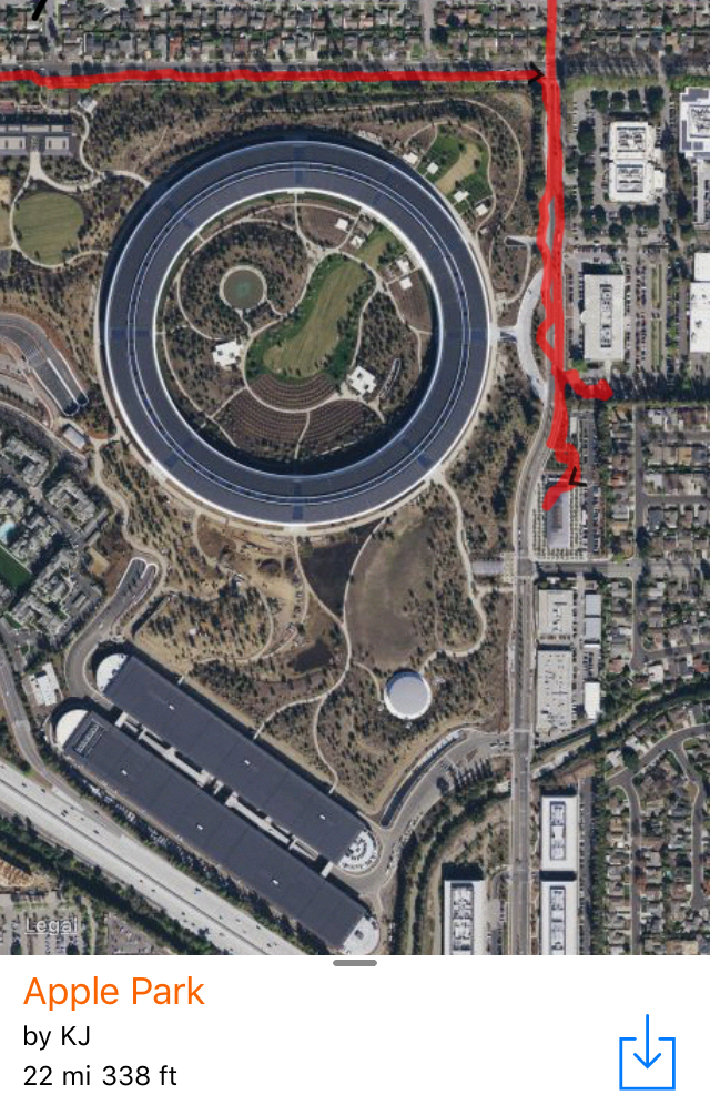 aerial view of the Apple Park campus showing the ring building.